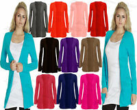 New Ladies Women Long Sleeves Front Pocket Boyfriend Cardigan UK Plus Sizes 8-26