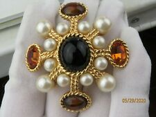"Vintage CINER Faux Pearl Faux Tiger Eye Crystals ""Maltese Cross"" brooch pendant"
