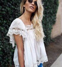 M New ANTHROPOLOGIE Womens White Crochet Lace Boho Flowy Blouse Top Size MEDIUM