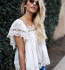 New Anthropologie Women's White Cotton Lace Hem Detail Hippie Blouse Top - Small
