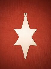 10 x CHRISTMAS STAR medium WOODEN SHAPE EMBELLISHMENT HANGING CRAFT PLAIN TAG