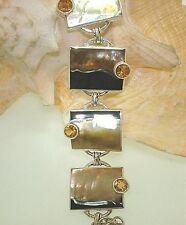 Marta Howell STER Silver Black-Lip Mother of Pearl Citrine Gemstone Bracelet #10