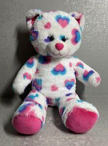 "Build a Bear Hearts and Hugs Bear Blue, Purple, Pink Hearts 16"" Plush"