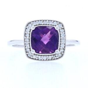 Neu Amethyst & Diamant Halo Ring - 10k Weiss Gold Schachbrett Kissen 1.57ctw