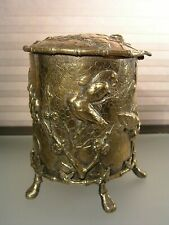 ANTIQUE BRASS BRONZE REPOUSSE FOOTED JAR BOX