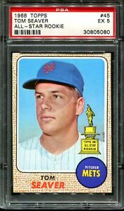 1968 TOPPS ALL-STAR ROOKIE #45 TOM SEAVER METS HOF PSA 5 A3770-080
