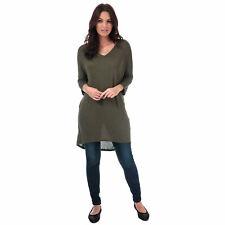 Womens Vero Moda Paya V-Neck Longline Jersey Top In Ivy Green