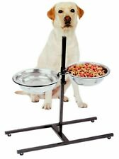 Pet Feeder Dog Cat Stainless Steel Adjustable Height Double Bowl Elevated Dish