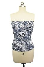 French Connection Top Size 2 Blue White Paisley Sleeveless Cotton Bustier Cami