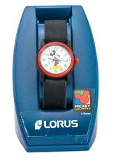 DISNEY: LORUS MICKY MOUSE BLACK CANVAS STRETCH BAND RED RING CASE ANALOG  WATCH