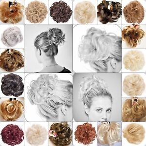 Hair Scrunchie Wrap Hairpiece Messy Bun Updo Extension Wavy Curly Spiky Natural