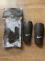 Nike J Guard Hard Shell Football Slip-in Shin Guards Pads Black Size XS Junior