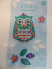 6 IRON ON MOTIFS includes Large Owl, 2 Flowers 3 Leaves