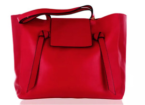 WOMENS RED LARGE TOTE BAG BRAND NEW WITH BUTTON FASTENING TO THE FRONT