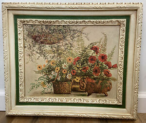 Vintage Floral Still Life Nell Cary Framed Home Interiors Poppies Daisies Ferns