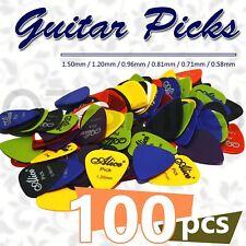 100 x ALICE Guitar Picks Bulk Coloured Celluloid Plectrums Standard Mixed Colour
