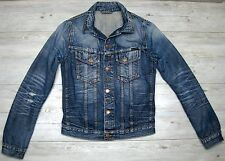 NUDIE Terry jean jacket blue sz. S small distressed damaged repaired NJ2821