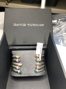 David Yurman 4mm cable Bracelet with Pink Tourmaline Stones Diamonds
