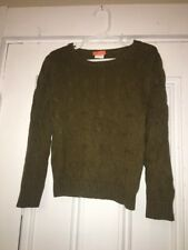 J.Crew Crewcuts Everyday Olive Green Cable knit Sweater Sz 3 Unisex Boy Girl