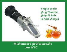 Rifrattometro miele Mielometro Baumè Brix Acqua ATC, con Soluzione Calibrazione