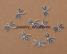 20pcs Tibetan Silver Charms Double Sided Dragonfly Pendant 14x18mm D3201