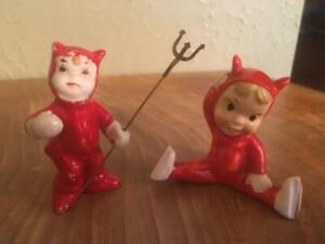 2 vintage ceramic LITTLE RED DEVIL pixie elf figurines Japan Napco Halloween