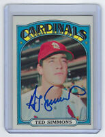 1972 CARDINALS Ted Simmons signed card Topps #154 AUTO Autograhed St. Louis HOF