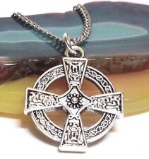"CELTIC CROSS_Pendant + 18"" Chain Necklace_Irish Knot Trinity Ireland Silver_162N"