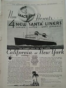 1932 Grace Line cruise ship Santa liners California New York vintage travel ad