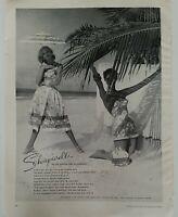 1955 women's Schiaparelli swimsuit swimwear vintage fashion Beach ad