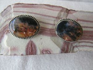 Vintage Huge Sterling Silver Cufflinks with Oval Brown Moss Agate