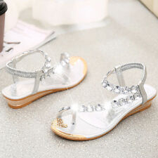 Women Flat Diamante Sandals Ladies Girls Summer Slingback Flip Flops Beach Shoes