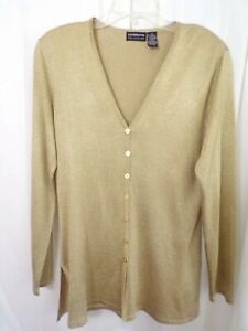 Liz Claiborne Women's Sweater Size M Gold Button Front Long Sleeve Tunic Length
