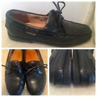 MEPHISTO Spinnaker Leather Loafers Size US 10.5 Boat Deck Shoes Black Portugal