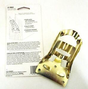 """Prime Line Products Solid Polished Brass 3/4"""" Flag Pole Bracket Holder Mount New"""