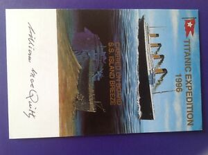 Titanic Expedition 1996 postcard signed William MacQuitty producer 49/100