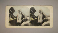 Old Antique Vtg Late 1800s Taking Views From an Aeroplane Stereoview Card Nice