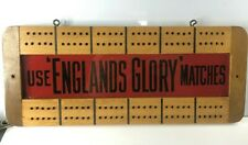 More details for vintage england's glory matches advertising cribbage board wood & glass 27x11cms