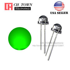 100pcs 5mm Straw Hat Green Light Wide Angle Transparent LED Emitting Diodes USA