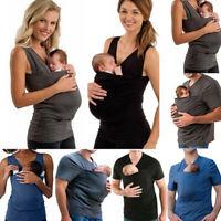 Damen Herren Babytrage Känguru Care Bonding-Shirts Große Tasche Weste T-Shirt