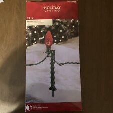 50 Count Adjustable Holiday Living Plastic Light Stake New Green