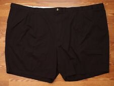 Mens Big And Tall Shorts Size 70 Waist 8 Ins Cotton Casual Black Double Pleated