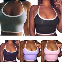 Women Sports Yoga Crop Vest Tops Seamless Summer Blouse Gym Halter Tank Shirt US