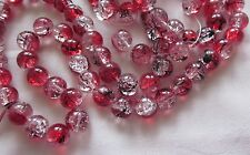 30 Red/Crystal/Black 10mm Crackle Glass Beads #cr3142 Combine Post-See Listing