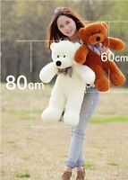 Plush Teddy Bear 100% Cotton 32''Giant 80cm Big Cute Huge Light Brown Soft Toy A