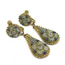 Antique Victorian Gold cased micro mosaic earrings Italian