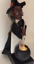 "Vintage Halloween Witch Animated Motionette Stirring Lights Cauldron 18"" C VIDEO"