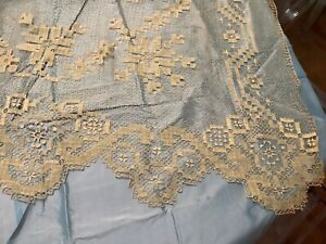 """Vintage handmade lace tablecloth Bed cover  95"""" x 95"""""""