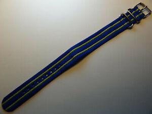 LONG Easy Pass Thru Mens Timex Weekender T7B920 20mm Watch Band Blue/Lime Green