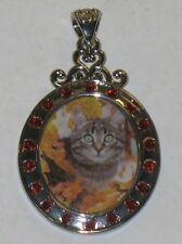 RARE WILLABEE AND WARD NOVEMBER CAT  PENDANT WITH SWAVORSKI CRYSTALS